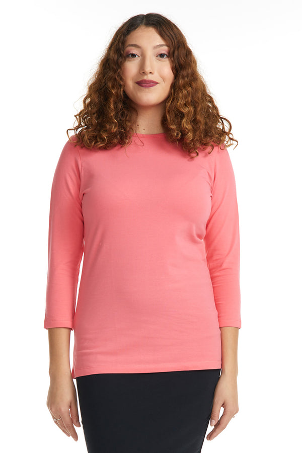 Esteez ¾ Sleeve Cotton Spandex RELAXED FIT Layering Shirt for WOMEN - SALMON