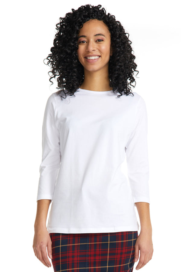 Esteez ¾ Sleeve Cotton Spandex RELAXED FIT Layering Shirt for WOMEN - WHITE