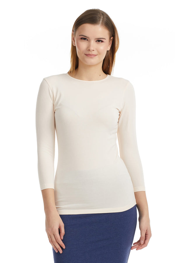Esteez ¾ Sleeve Cotton Spandex SNUG FIT Layering Shirt for WOMEN - BEIGE