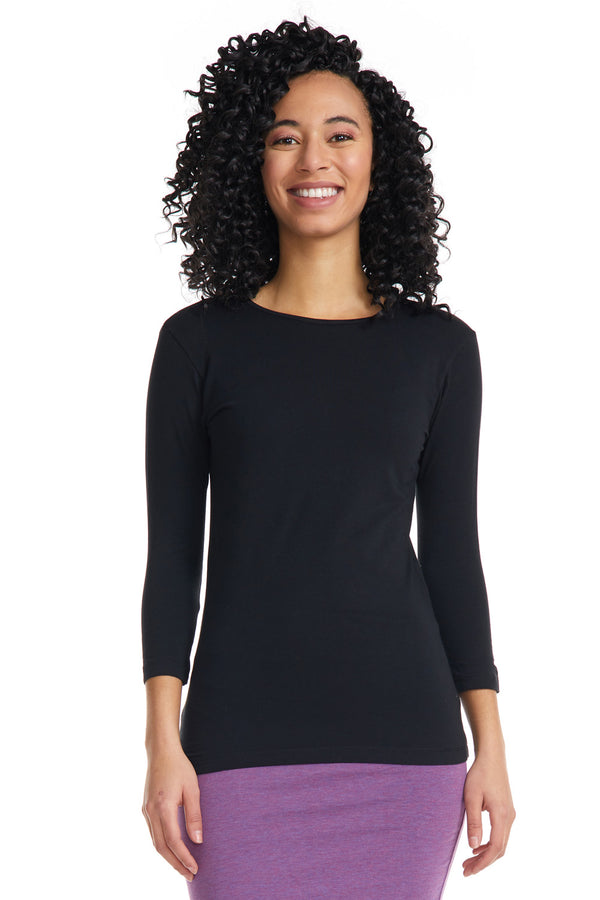Esteez ¾ Sleeve Cotton Spandex SNUG FIT Layering Shirt for WOMEN - BLACK