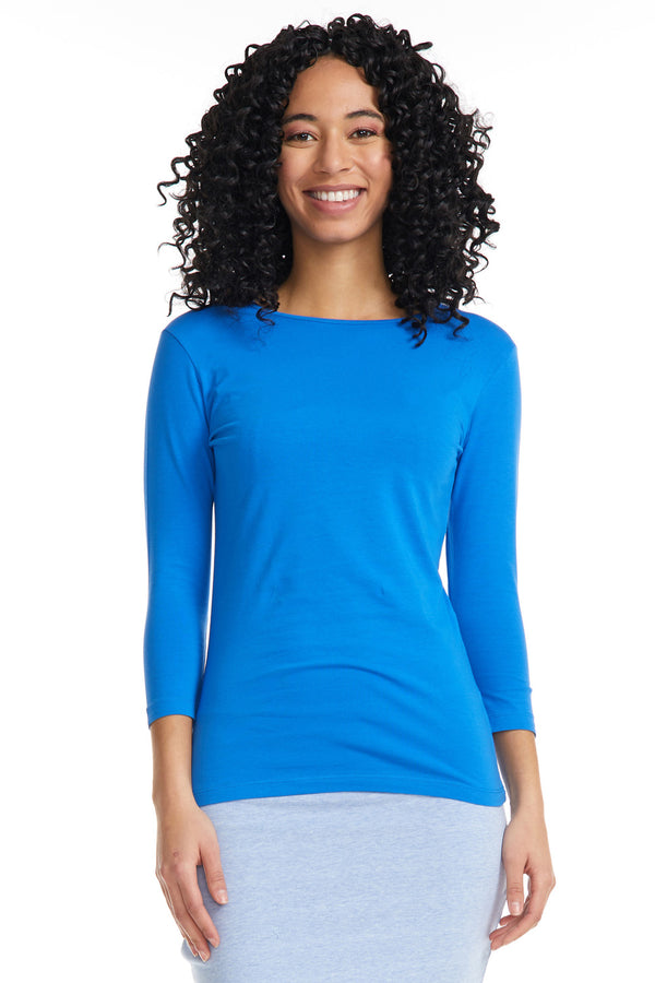 Esteez ¾ Sleeve Cotton Spandex SNUG FIT Layering Shirt for WOMEN - BLUE