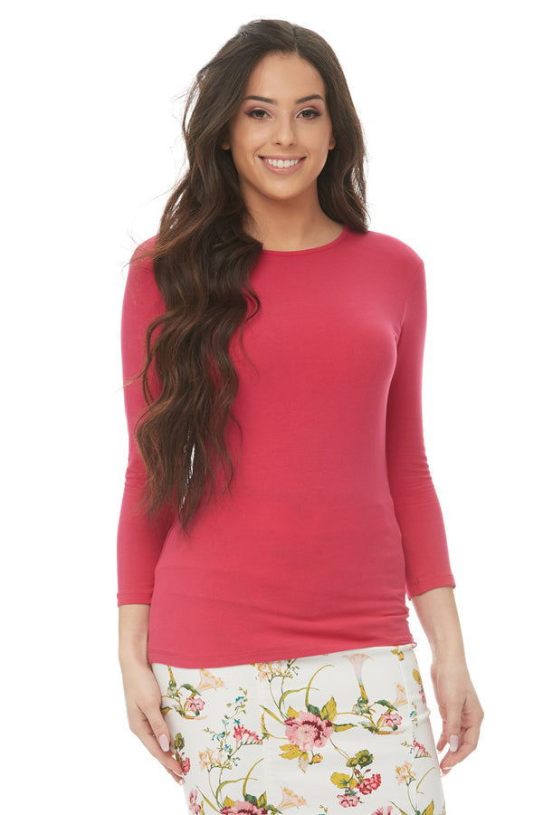 Esteez ¾ Sleeve Cotton Spandex SNUG FIT Layering Shirt for WOMEN - FUSCHIA