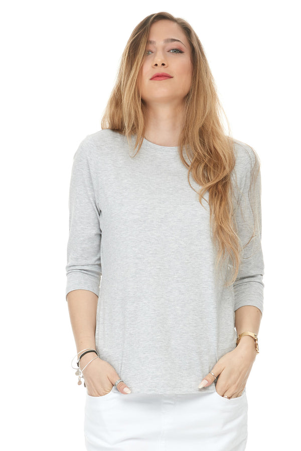 Esteez ¾ Sleeve Cotton Spandex SNUG FIT Layering Shirt for WOMEN - GREY MIX
