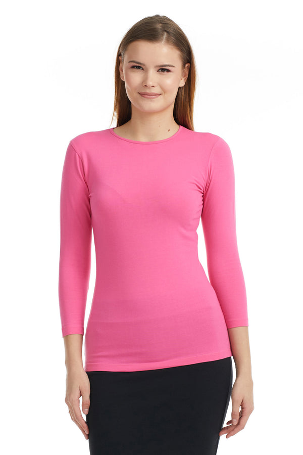 Esteez ¾ Sleeve Cotton Spandex SNUG FIT Layering Shirt for WOMEN - HOT PINK
