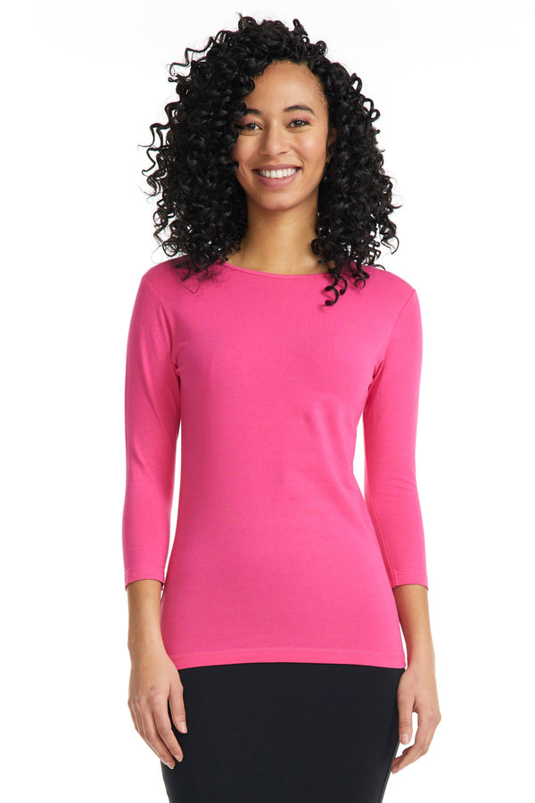 Esteez ¾ Sleeve Cotton Spandex SNUG FIT Layering Shirt for WOMEN - MAGENTA