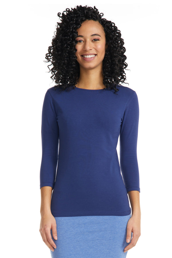 Esteez ¾ Sleeve Cotton Spandex SNUG FIT Layering Shirt for WOMEN - NAVY