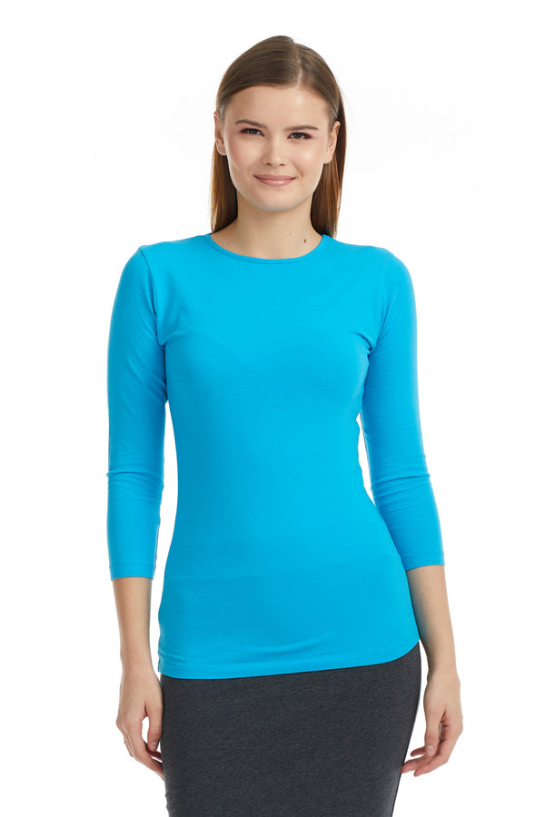 Esteez ¾ Sleeve Cotton Spandex SNUG FIT Layering Shirt for WOMEN - OCEAN
