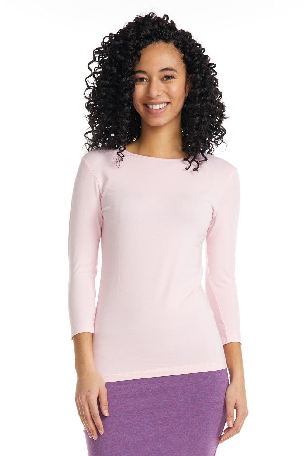 Esteez ¾ Sleeve Cotton Spandex SNUG FIT Layering Shirt for WOMEN - PINK