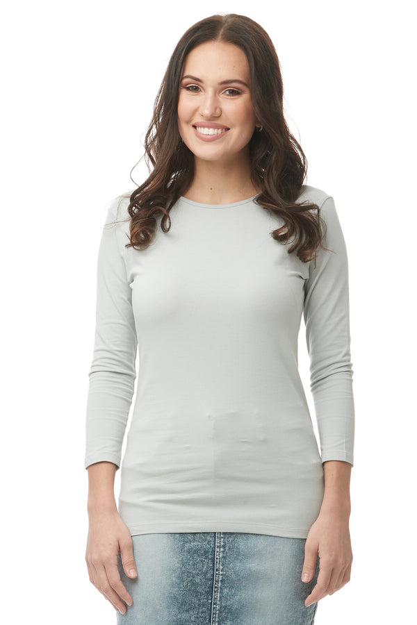 Esteez ¾ Sleeve Cotton Spandex SNUG FIT Layering Shirt for WOMEN - POLAR GREY