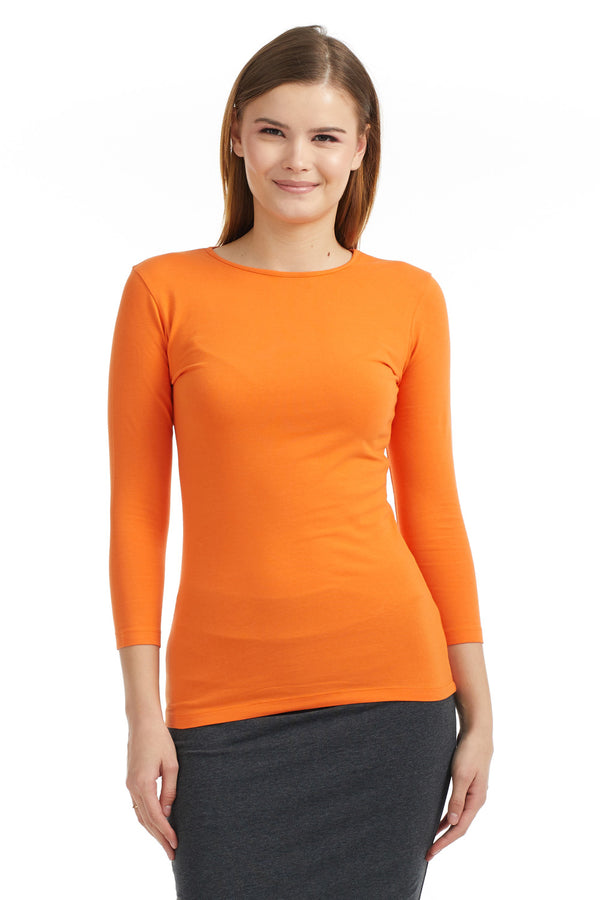 Esteez ¾ Sleeve Cotton Spandex SNUG FIT Layering Shirt for WOMEN - PUMPKIN