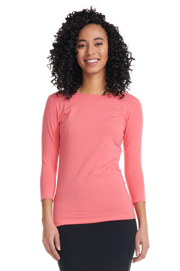 Esteez ¾ Sleeve Cotton Spandex SNUG FIT Layering Shirt for WOMEN - SALMON