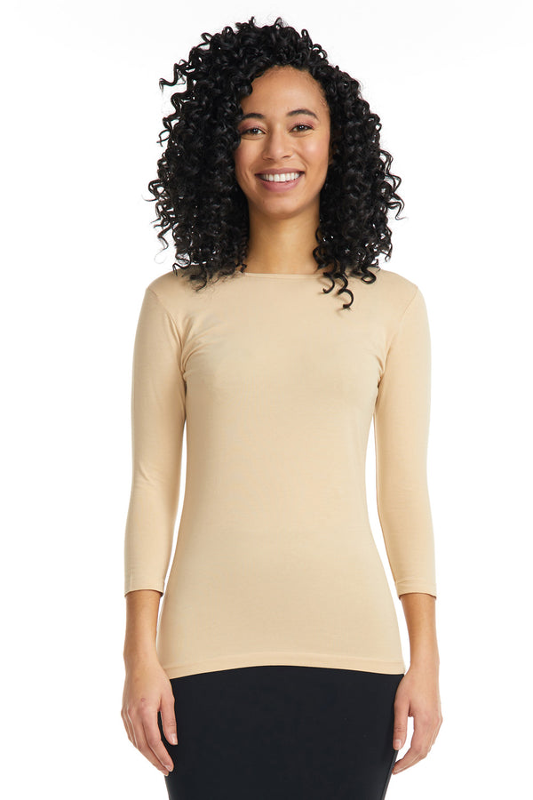 Esteez ¾ Sleeve Cotton Spandex SNUG FIT Layering Shirt for WOMEN - TAN