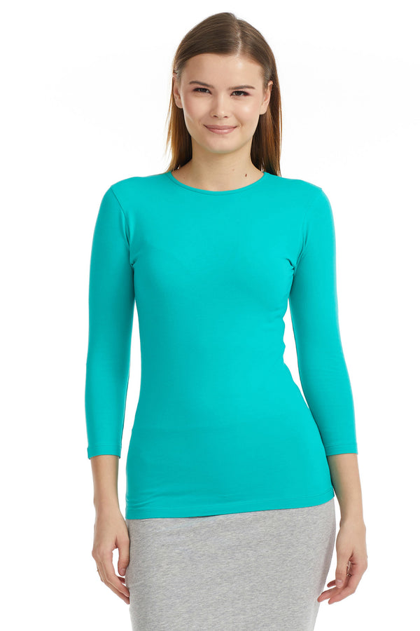 Esteez ¾ Sleeve Cotton Spandex SNUG FIT Layering Shirt for WOMEN - TURQUOISE