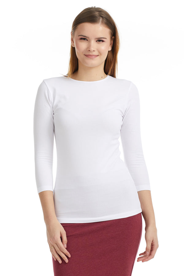 Esteez ¾ Sleeve Cotton Spandex SNUG FIT Layering Shirt for WOMEN - WHITE