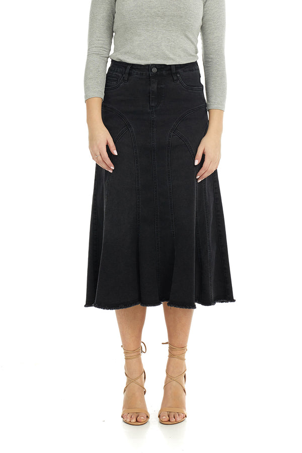 Esteez ASPEN Skirt - Midi Denim A-Line Flared Skirt for WOMEN - BLACK