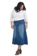 Esteez ASPEN Skirt - Midi Denim A-Line Flared Skirt for WOMEN - CLASSIC BLUE