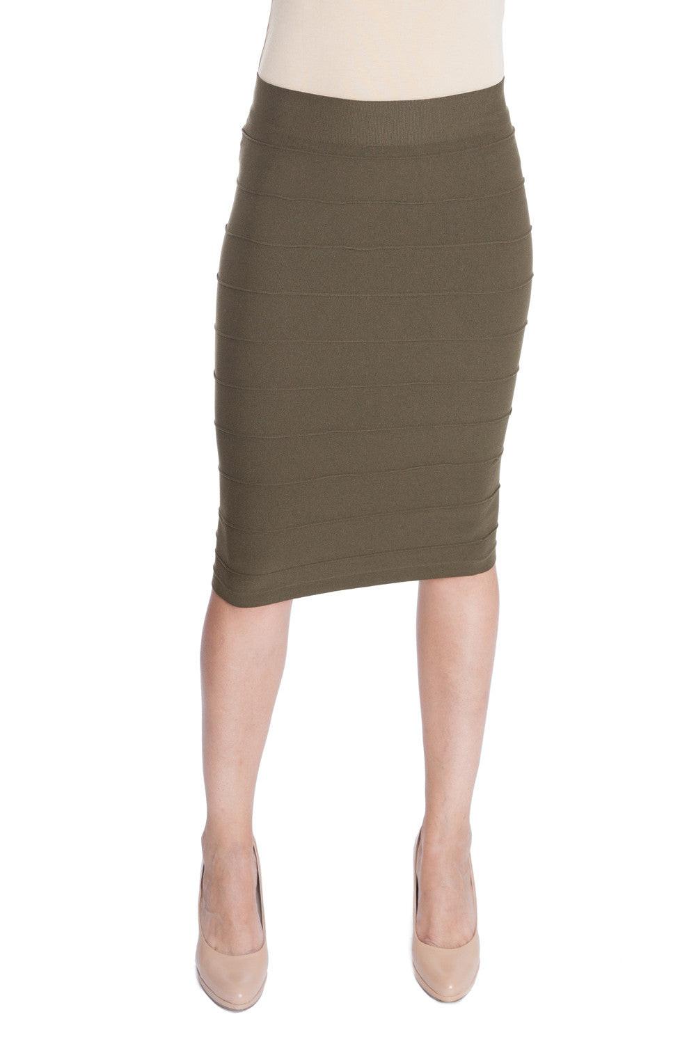 Esteez Seamless Bandage Skirt - Slimfit Stretchy Nylon Pencil Skirt for WOMEN