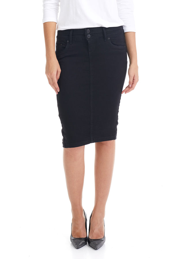 Esteez BEVERLY HILLS Skirt - Below the Knee Jean Skirt with Tummy Control for WOMEN - BLACK