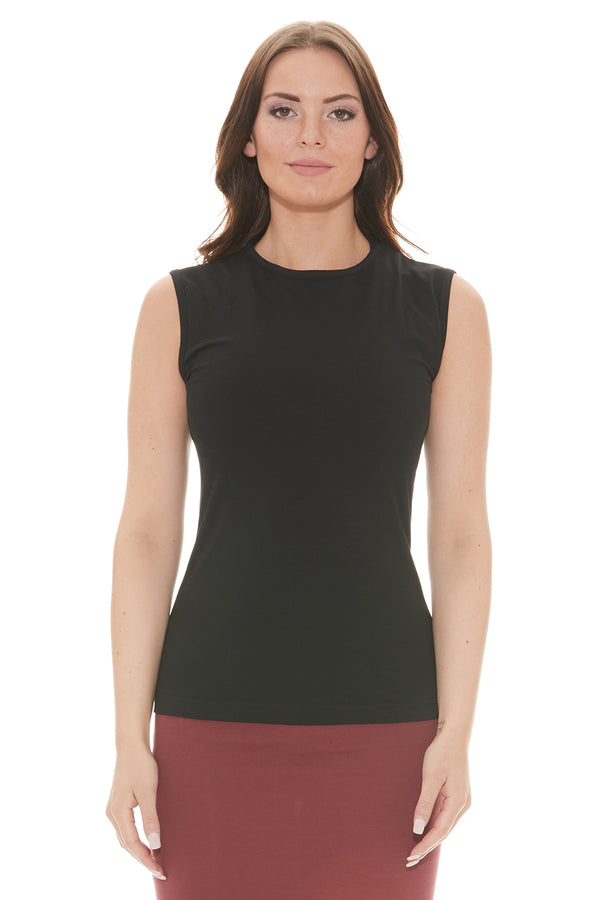 Esteez Sleeveless Cotton Spandex Fitted Layering Shell for WOMEN - BLACK