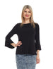Esteez BLOSSOM top - Women's  trumpet sleeve top - BLACK