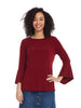 Esteez Blossom top - Women's trumpet sleeve top - BURGUNDY