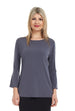 Esteez Blossom top - Women's trumpet sleeve top - CHARCOAL