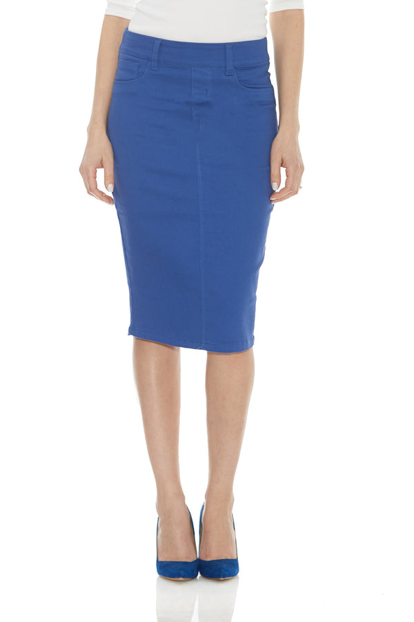 ESTEEZ BROOKLYN SKIRT - Below the knee Jean Skirt for women - CORNFLOWER BLUE