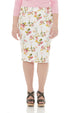 ESTEEZ BROOKLYN SKIRT - Below the knee Jean Skirt for women - WHITE FLORAL