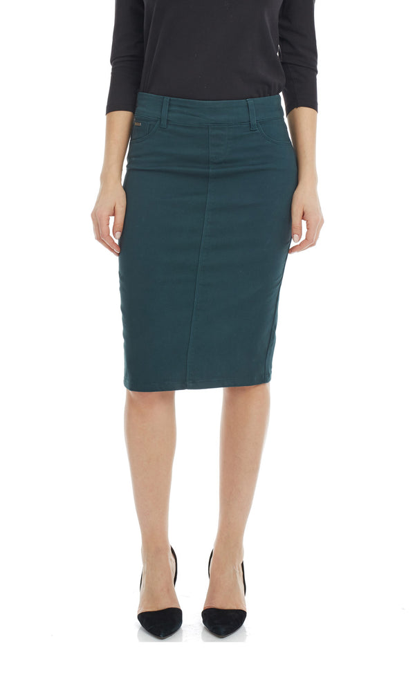 ESTEEZ BROOKLYN SKIRT - Below the knee Jean Skirt for women - HUNTER GREEN - CLEARANCE