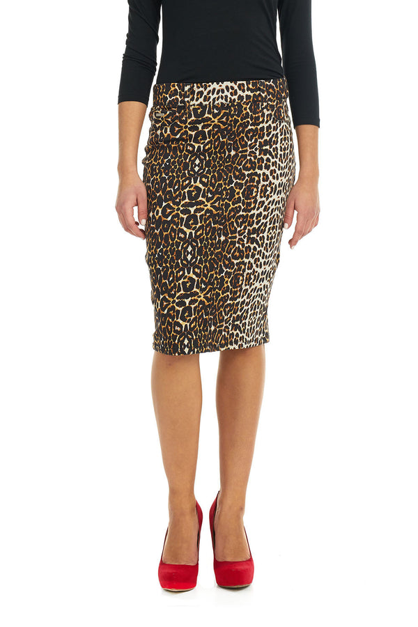 ESTEEZ BROOKLYN SKIRT - Below the knee Jean Skirt for women - LEOPARD - CLEARANCE