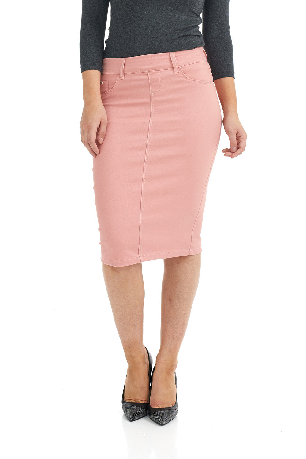 ESTEEZ BROOKLYN SKIRT - Below the knee Jean Skirt for women - PINK