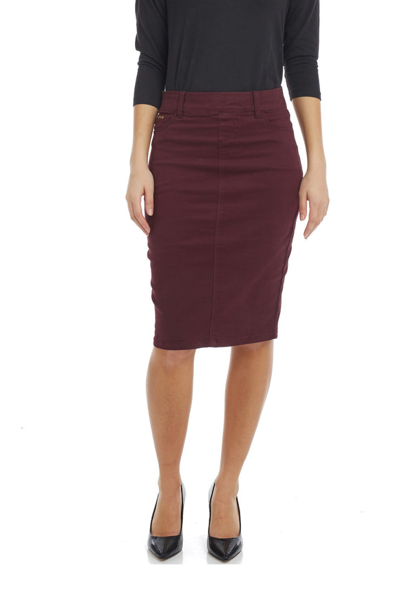 ESTEEZ BROOKLYN SKIRT - Below the knee Jean Skirt for women - WINE - CLEARANCE