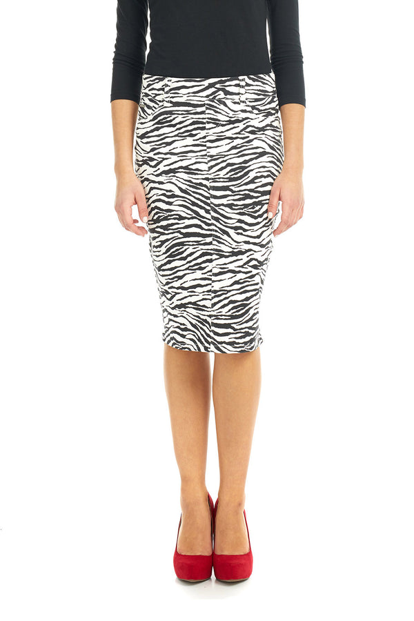 ESTEEZ BROOKLYN SKIRT - Below the knee Jean Skirt for women - ZEBRA