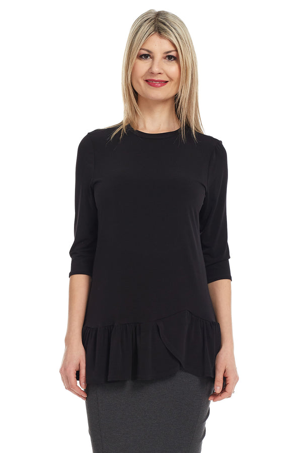 Esteez CARNATION Top - 3/4 Sleeve Tunic with Ruffle Hem - BLACK - CLEARANCE