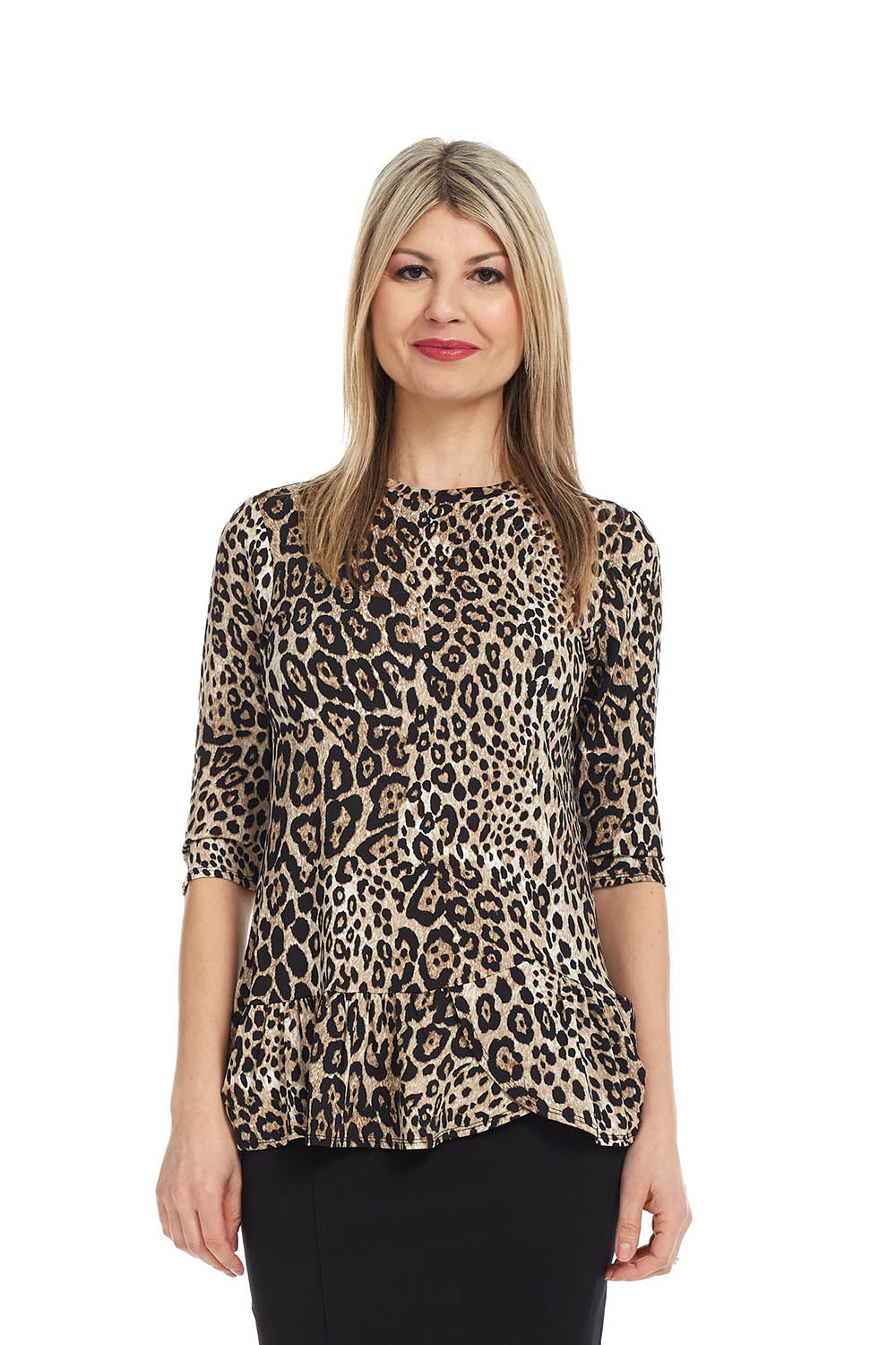 Esteez CARNATION Top - 3/4 Sleeve Tunic with Ruffle Hem - CHEETAH