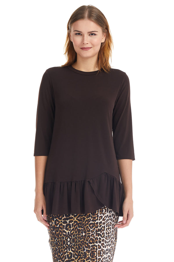 Esteez CARNATION Top - 3/4 Sleeve Tunic with Ruffle Hem - ESPRESSO BROWN - CLEARANCE