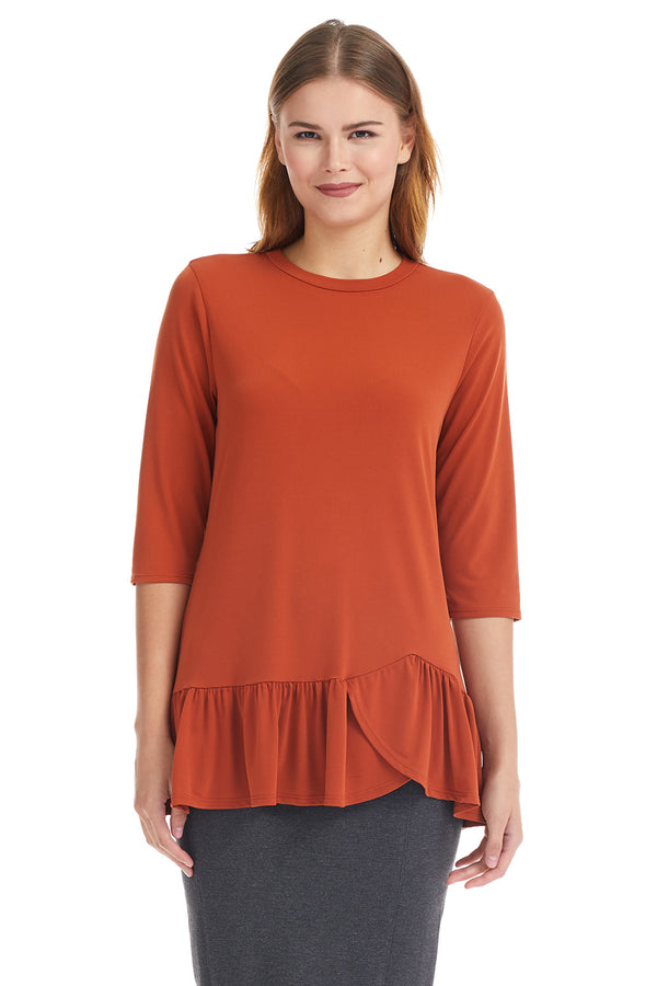 Esteez CARNATION Top - 3/4 Sleeve Tunic with Ruffle Hem - TERRACOTTA - CLEARANCE