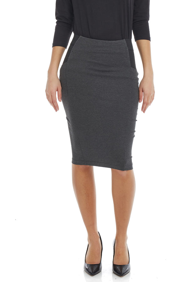 Esteez CHARLOTTE Skirt - Ponte Skirt for Women with Tummy Control - CHARCOAL