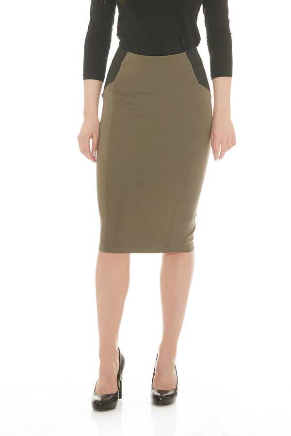 Esteez CHARLOTTE Skirt - Ponte Skirt for Women with Tummy Control - KHAKI