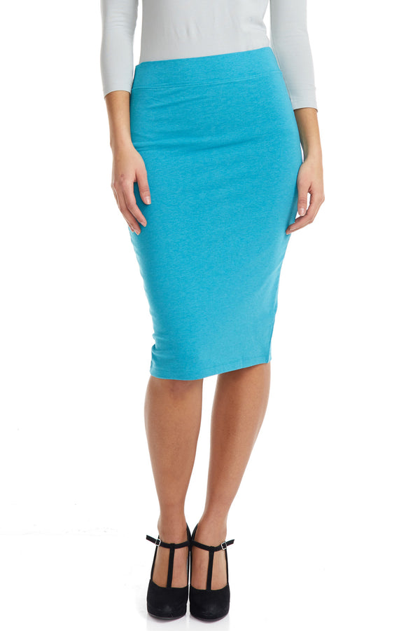 Esteez CHICAGO Skirt - Cotton Spandex Stretchy Pencil skirt for WOMEN - AQUA