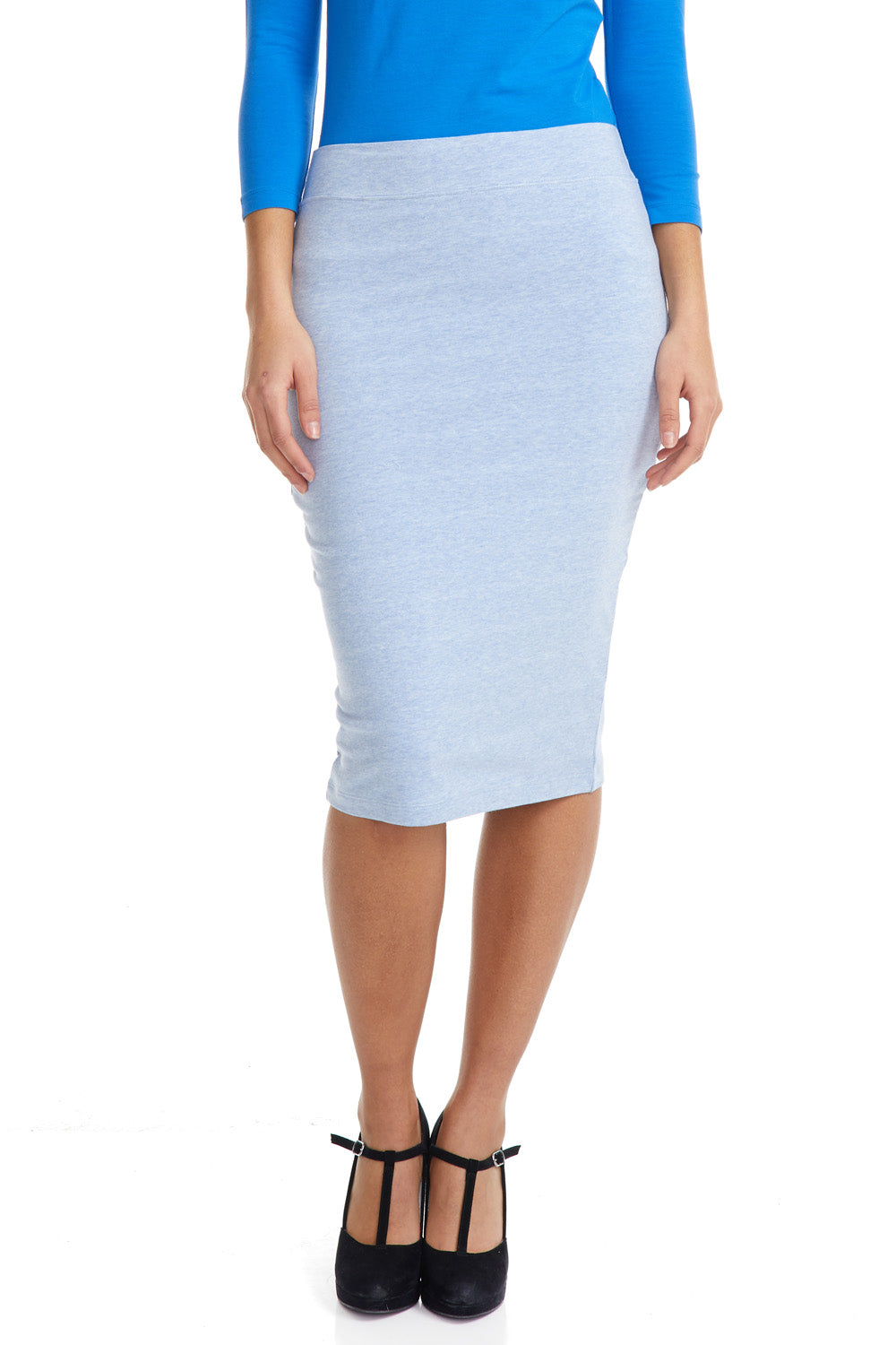 Esteez CHICAGO Skirt - Cotton Spandex Stretchy Pencil skirt for WOMEN - BABY BLUE