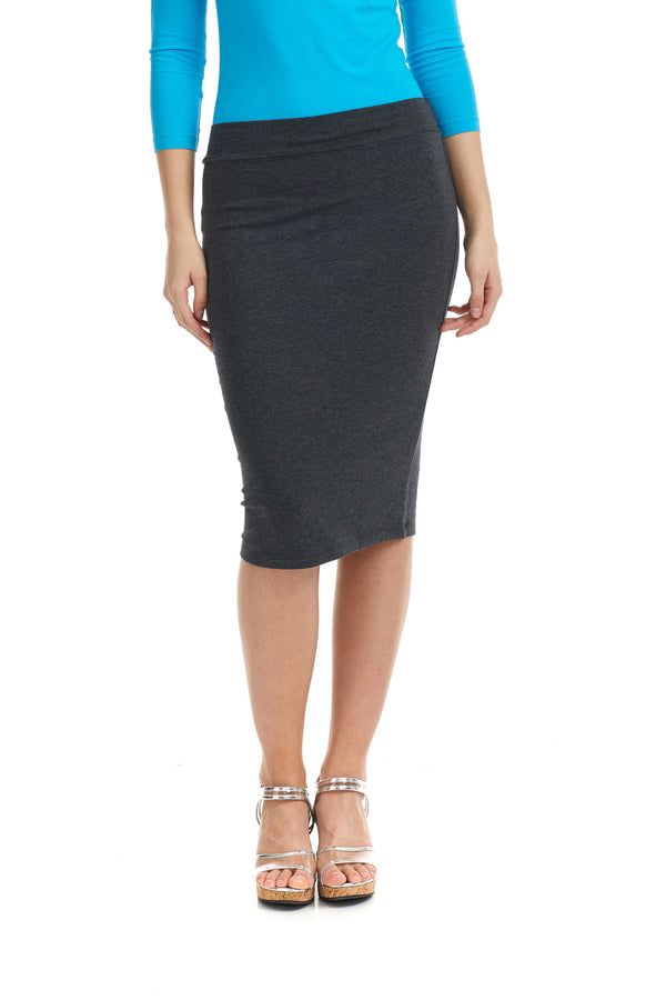 Esteez CHICAGO Skirt - Cotton Spandex Stretchy Pencil skirt for WOMEN - CHARCOAL