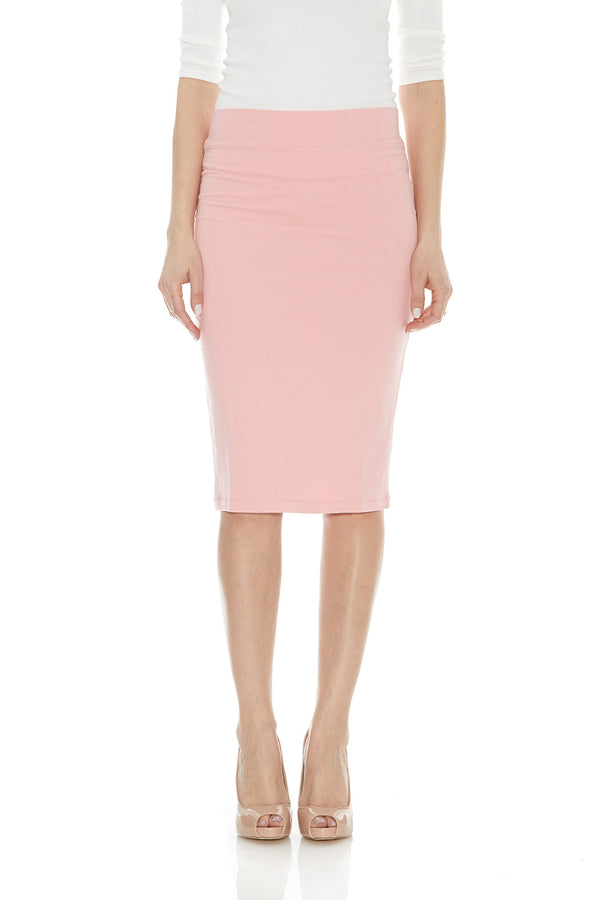 Esteez CHICAGO Skirt - Cotton Lycra Stretchy Pencil skirt for WOMEN - SALMON - CLEARANCE