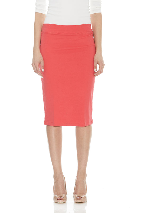 Esteez CHICAGO Skirt - Cotton Lycra Stretchy Pencil skirt for WOMEN - SCARLET