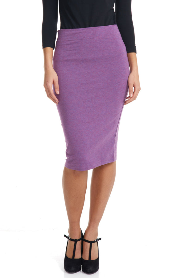 Esteez CHICAGO Skirt - Cotton Spandex Stretchy Pencil skirt for WOMEN - LILAC