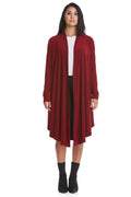 Esteez CHLOEE - Womens Long Sleeve Waterfall Open Front Cardigan - BURGANDY - CLEARANCE