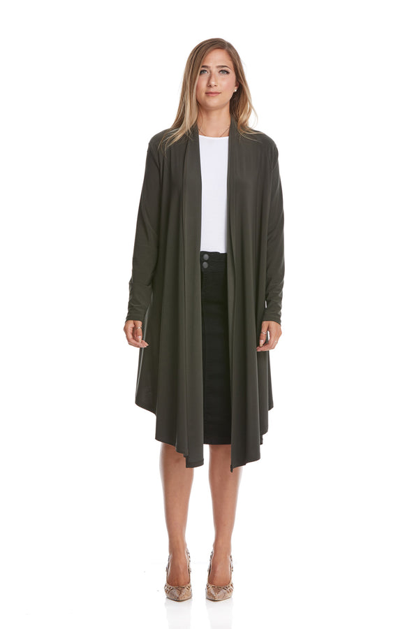 Esteez CHLOEE - Womens Long Sleeve Waterfall Open Front Cardigan - OLIVE