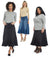 Esteez ASPEN Denim Skirt - Midi A-Line Flared Jean Skirt for WOMEN