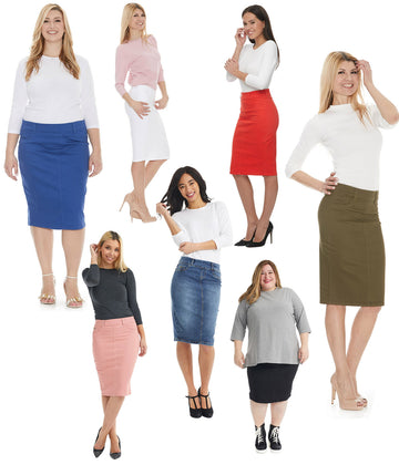 ESTEEZ Women/'s Pencil Skirt Stretchy Opaque Lightweight Slim Fit Bandage Style