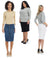 Esteez MONTREAL Jean Skirt - Button Down Below Knee Length Denim Pencil Skirt for WOMEN